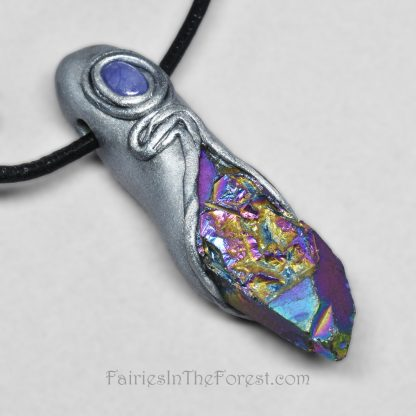 Silver Polymer Clay and Rainbow Quartz Crystal Point Pendant Necklace