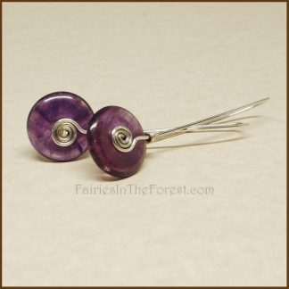 Sterling Silver and Amethyst Donut Earrings