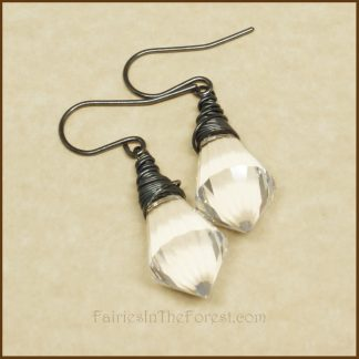 Sterling Silver and Clear Crystal Prism Teardrop Earrings