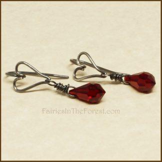 Sterling Silver Heart and Red Swarovski Crystal Teardrop Earrings
