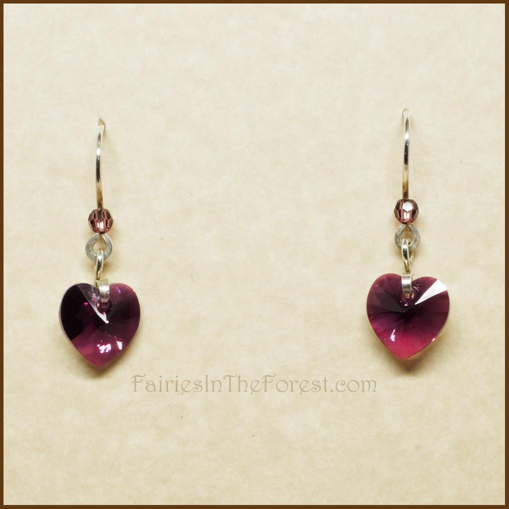 Purple Swarovski Crystal Hearts And Sterling Silver Earrings