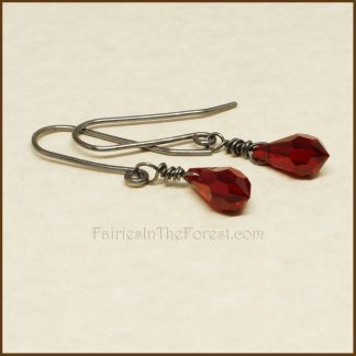 Red Swarovski Teardrop and Sterling Silver Earrings