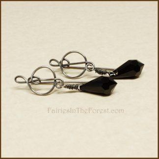 Sterling Silver Treble Clef and Black Swarovski Teardrop Earrings
