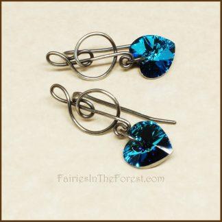 Sterling Silver Treble Clef and Blue Swarovski Heart Earrings