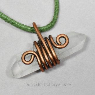 Copper Wrapped Double Terminated Quartz Crystal Point Necklace