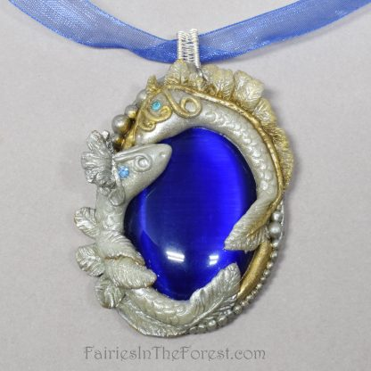 Large Baby Dragons on Blue Cat's Eye Necklace