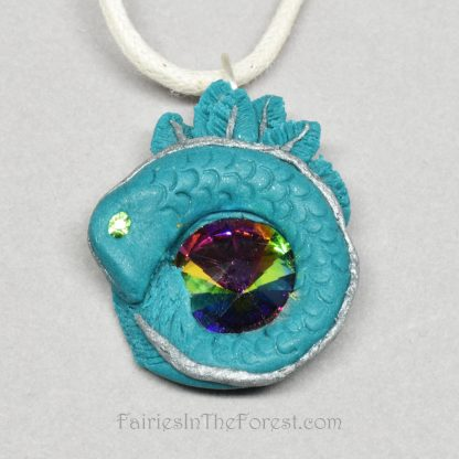 Small Teal Baby Dragon and Crystal Rivoli Necklace