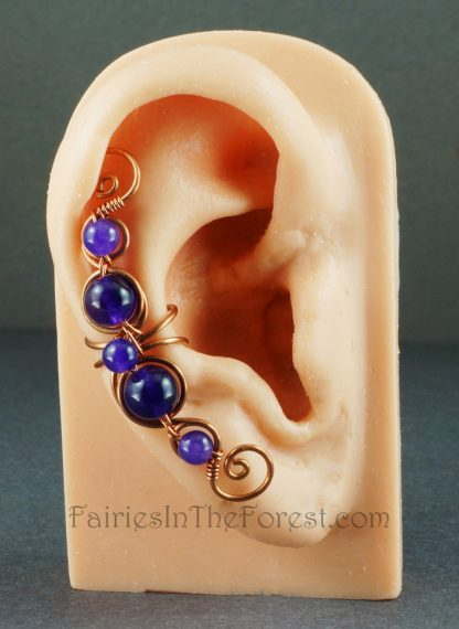 Copper and Amethyst Wire Wrapped Ear Cuff