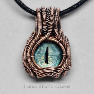 Green Dragon Eye and Copper Mini Heady Wire Wrapped Necklace