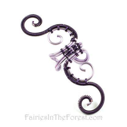 Purple woven swirly ear cuff