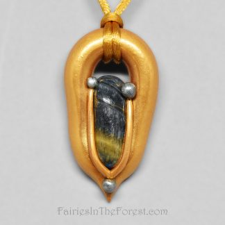 Gold and silver polymer clay pendant with blue Tigereye.