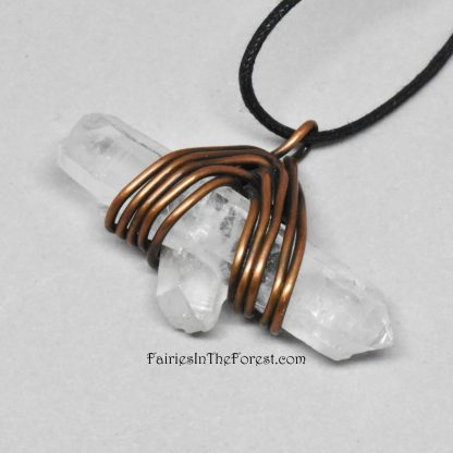 Copper and Quartz Crystal Point Necklace