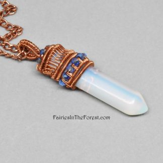 Copper and Opalite Wire Wrapped Crystal Point Necklace