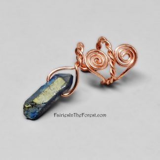 Copper Spirals Ear Cuff with Titanium Quartz Crystal Point