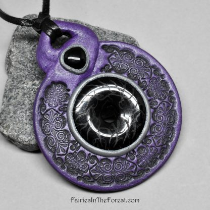 Black Onyx and Purple Polymer Clay Pendant on a Leather Necklace