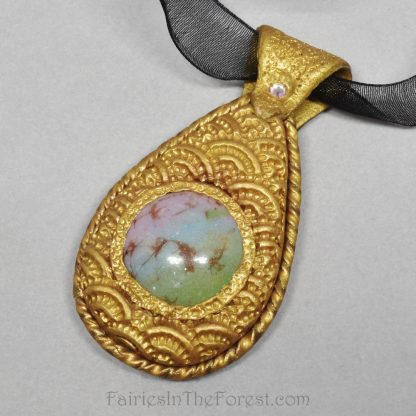 Faux Opal and Gold Polymer Clay Necklace