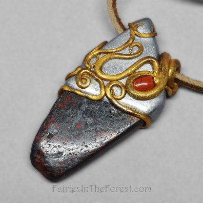 Brecciated Jasper and Polymer Clay Necklace