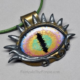 Horned Rainbow Dragon Eye Necklace