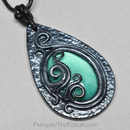 Green Glass and Silver Polymer Clay Necklace