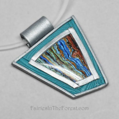 Rainbow Calsilica and Polymer Clay Necklace