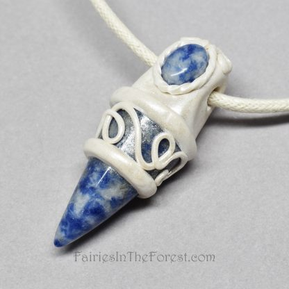 Sodalite and Polymer Clay Pendant/Necklace