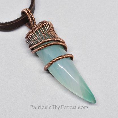 Copper and Green Agate Claw Wire Wrapped Pendant