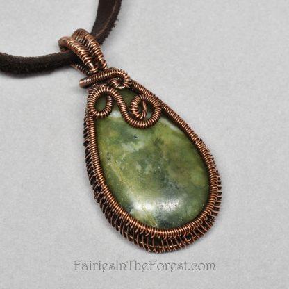 Copper and Serpentine Teardrop Pendant Necklace