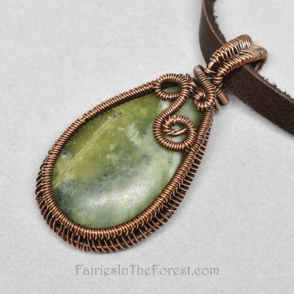 Copper and Serpentine Teardrop Pendant Necklace