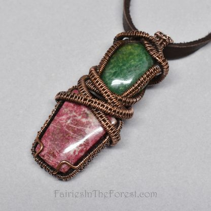 Wire Wrapped Thulite and African Jade Pendant