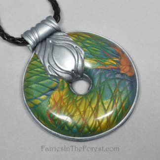 Faux Labradorite and Silver Polymer Clay Pendant Necklace