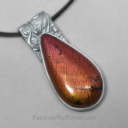 Silver and Faux Dichroic Glass Polymer Clay Necklace