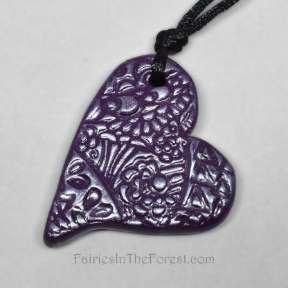 Reversible Purple Polymer Clay Heart Necklace