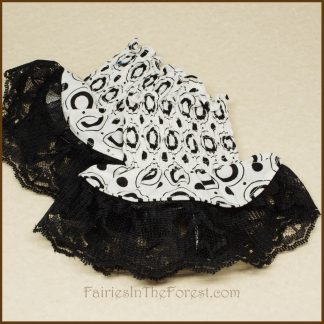Black Circles on White with Black Lace Smocked Wrist Cuff