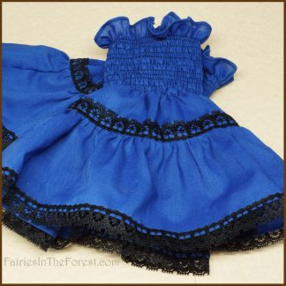 Blue with Black Lace Smocked Wrist Cuffs