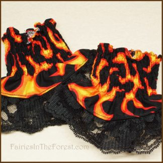 Fire and Black Lace Smocked Wrist Cuffs