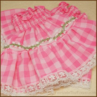 Pink Gingham with Flower Trim and White Lace Smocked Wrist Cuffs