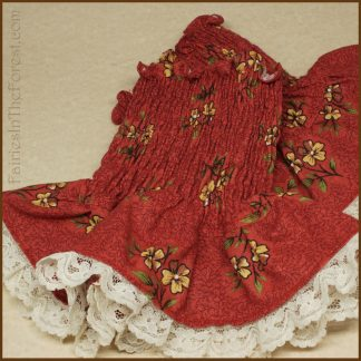 Yellow Flowers on Red with Cream Lace Smocked Wrist Cuffs
