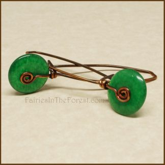 Copper and Green Aventurine Donut Earrings