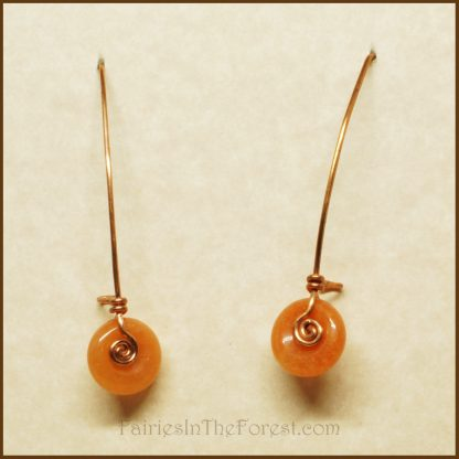 Copper and Peach Aventurine Donut Earrings