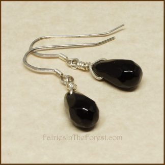 Sterling Silver and Faceted Glass Teardrop Earrings