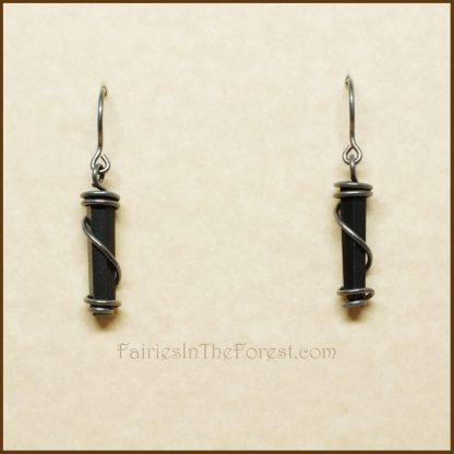 Sterling Silver Wrapped Blackstone Crystal Point Earrings