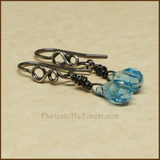 Blue Swarovski Crystal Teardrops and Sterling Silver Infinity Symbol Earrings
