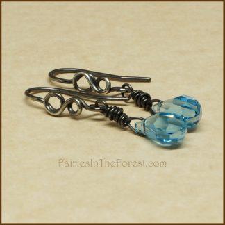 Blue Swarovski Crystal Teardrops and Sterling Silver Infinity Symbol Earrings