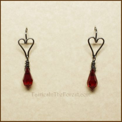 Sterling Silver Heart and Red Swarovski Crystal Teardrop Earrings