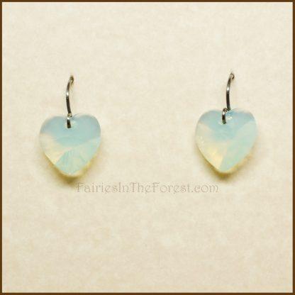 "Sterling Silver and Swarovski ""Chrysolite Opal"" Heart Earrings"