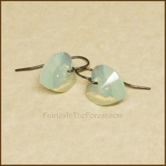 "Sterling Silver and Swarovski ""Chrysolite Opal"" Heart Earrings"