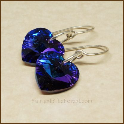 "Sterling Silver and Blue and Purple ""Heliotrope"" Swarovski Crystal Heart Earrings"