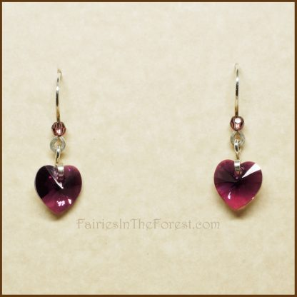 Purple Swarovski Crystal Hearts and Sterling Silver Earrings