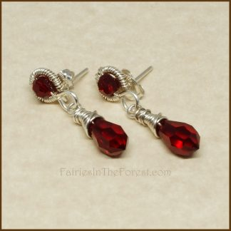 Sterling Silver and Red Swarovski Crystal Earrings