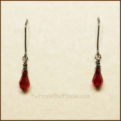 Red Swarovski Teardrop and Sterling Silver Earrings